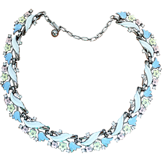 "1950's Trifari ""Garden Party"" Pastel Enamel Necklace"
