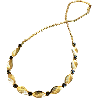 Goldtone Twisted Necklace with Jet-black Rhinestones