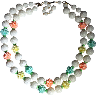 WWII  Vintage Japan Double-strand Sugar-beaded Necklace