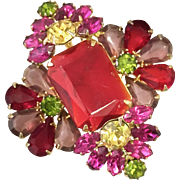 Vintage Red and Pink Rhinestone Brooch
