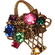 Adorable Basket of Multi-colored Rhinestones Pin