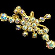 Crystal Aurora Borealis Rhinestone and Goldtone Brooch Made in Austria