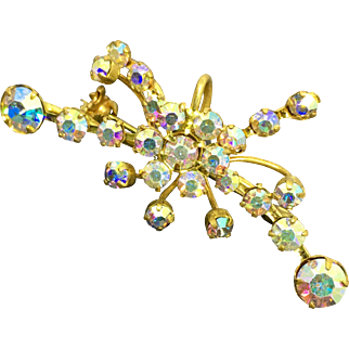 Crystal Aurora Borealis Rhinestone and Goldtone Brooch Made in Austria