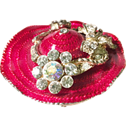 Bright Red Enameled Sun Hat shaped Brooch with AB Rhinestone Accents