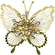 1980's Signed Monet Goldtone Butterfly Pin in Original Box