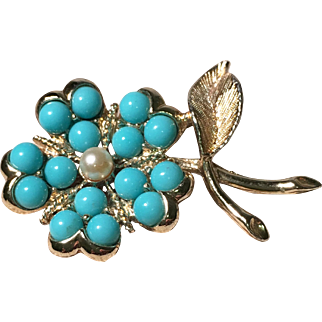 Sky Blue and White Simulated Pearl Flower Brooch by Sarah Coventry