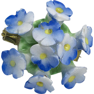 Bone China Forget-me-not 1950's Pin by Artone