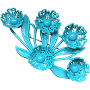Early Vintage Blue 3D Filigree Flowers Celluloid Brooch