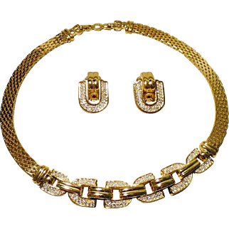 Christian Dior Gold-plated Necklace and Earrings with Pave Swarovski Rhinestones