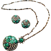 Art-deco Style Pendant and Clip-back Earrings Set with Green Marbled Acrylic and Simulated Pearls