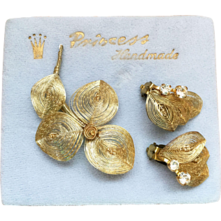 Princess Co Goldtone Wire-wrapped Earrings and Brooch Set made in West Germany