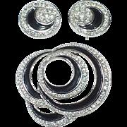 1960's Vintage Trifari Earrings and Brooch Set: Silvertone Swirls in Black Enamel with Crystal Rhinestones
