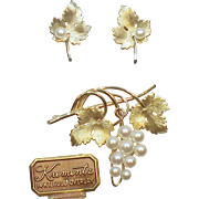 Vintage Signed Krementz Grapevine Earrings and Pin/Brooch Set in 14K Gold Overlay with Cultured Pearls