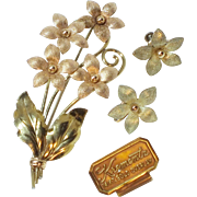 Vintage Signed Krementz Flower Earrings and Pin/Brooch Set in 14K Yellow and Rose Gold Overlay