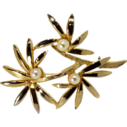Signed Brooks Goldtone and Simulated Pearl Palm Frond Brooch