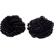 1950's Vintage Black Glass Hand-Beaded Earrings-Converted to Pierced