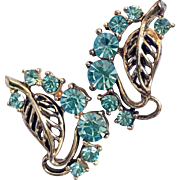 Vintage Aqua Rhinestone and Goldtone Cutout Leaf Screw-back Earrings