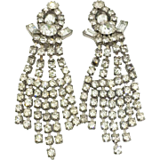 Unsigned Weiss Shoulder-dusting Crystal Rhinestone Clipback Earrings