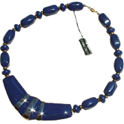 1960s Vintage Blue/Goldtone Lucite and Enamel Necklace