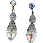 Faceted Crystal Beaded Drop Clip Earrings with Aurora Borealis Rhinestones