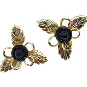 Goldtone Leave-pattern Screwback Earrings with Jet-black Centers