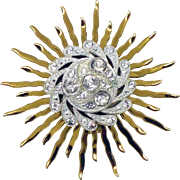 Mid-Century Art Nouveau Revival Brass and Rhinestone Sun Brooch
