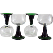 1970s Vintage French Luminarc Wine Glasses with Stacked Green Stems-set of 4
