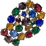 Fruit Salad Multi-colored Rhinestone Fur Clip
