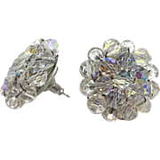 1950's Vintage Aurora Borealis Beaded Clusters-converted to pierced earrings