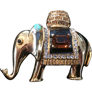 CINER Swarovski Crystal Elephant Brooch