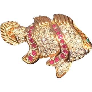 Swarovski Crystal Vintage Fish Brooch/Pin