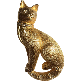 Christian Dior Swarovski Crystal Cat Brooch