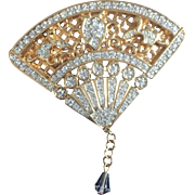 Signed Swarovski Fancy Pave Crystal Fan