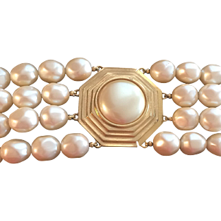 YSL Quadruple Strand Faux Pearl Necklace