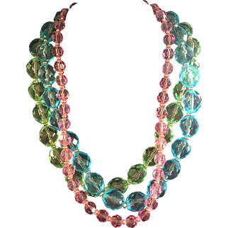 Napier Vintage Lucite Colored Crystal necklace