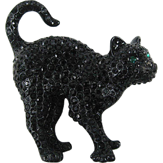 Jet Pave' Swarovski Crystal Cat Brooch/Pin RETIRED