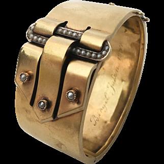 Antique Etruscan Revival Gustaf Dahlgren solid 18k yellow gold buckle bracelet with seed pearls Sweden 18