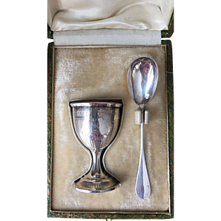 Mid 1800s Antique Sterling Silver Egg Cup and Spoon with original presentation box