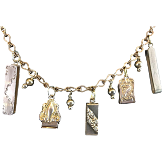Gold filled pocket watch chain and Fob necklace created by Cindy Bussiere