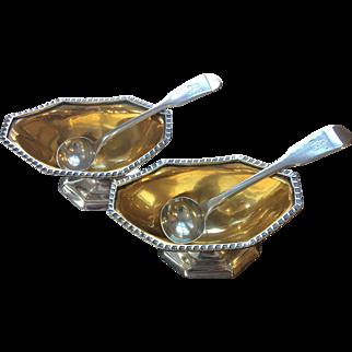 Pair of 1700 Antique British Sterling Silver Thomas Wallis Salt cellars bowls & Eley Fearn Spoons
