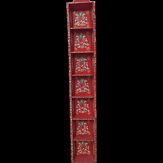 Vintage Scandinavian Swedish red hand painted wooden wall shelf