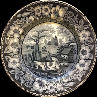 Antique Villeroy and Boch Transferware black blue plate WALLERFANGEN DESSERT PLATE