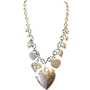 Long Sterling Silver Heart Necklace with charms and handmade chain