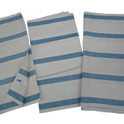 1960s Set of 3 Striped LINEN Tea Towels by Cannon