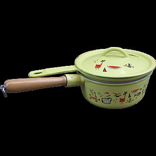 Descoware Cookware Set. 2 Pots with Lid. Double Broiler. Markley Pattern. Cast Iron Enamelware
