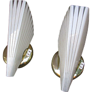 1950s Matching Set of 2 ELEGANT Sconces.  Electric Wall Lamps.  New Old Stock in Original Boxes