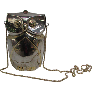 Vintage Chrome Owl Shoulder Bag. Made in Hong Kong.