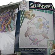 Vintage Mother Goose Quilt Kit in Stamped Cross Stitch.  Baby Hugs Precious Keepsakes. Sunset.