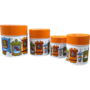 Set of 4 Nesting Metal Canisters. Old Tavern Design with Orange Lids.