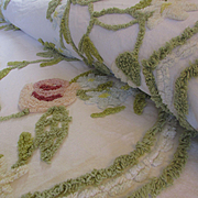 Vintage Floral Chenille Bedspread. Single Bed. Twin Bed. 100% Cotton Chenille